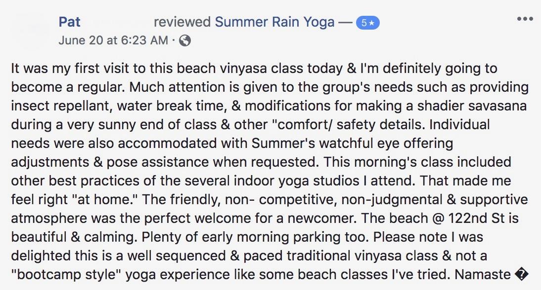 Summer Rain Yoga Ocean City Md